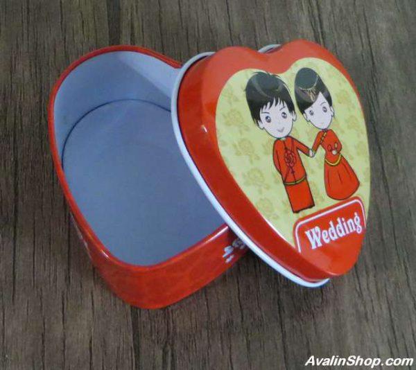 جعبه فلزی طرح قلب wedding