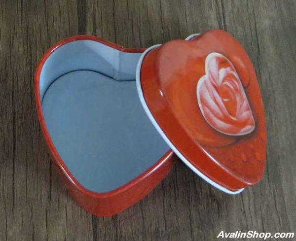 جعبه فلزی قلب طرح گل