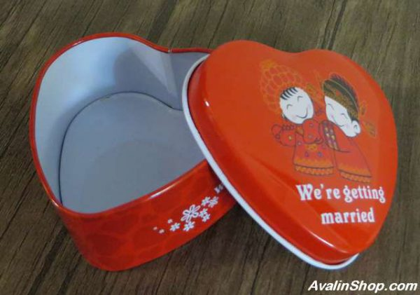 جعبه فلزی طرح قلب Wedding married