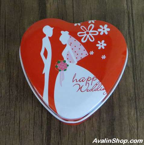 جعبه کادویی فلزی طرح قلب Happy wedding