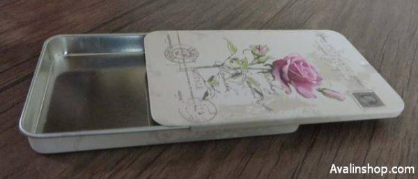 جعبه فلزی کشویی طرح گل رز