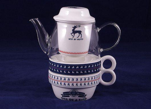قوری و فنجان دمنوش و چای ساز طرح گوزل
