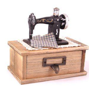 جعبه دکوری چوبی طرح چرخ خیاطی