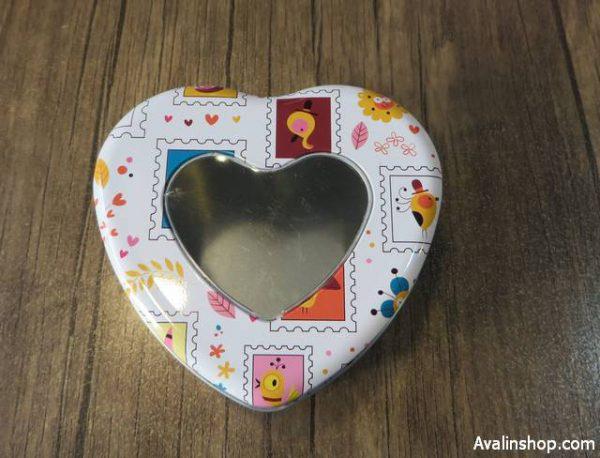 جعبه کادویی فلزی قلب در شیشه ای